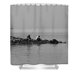 Our Quiet Chats About Life Shower Curtain by Jez C Self