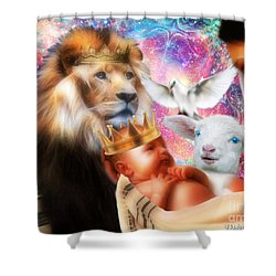 Shower Curtain featuring the digital art Our Saviors Birth by Dolores Develde