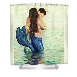 Shower Curtain featuring the painting Our Treasured Love by Leslie Allen
