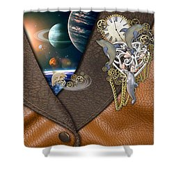 Our World On Time Shower Curtain by Nadine May