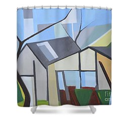 Out Back Down Oakwood Shower Curtain by Ron Erickson