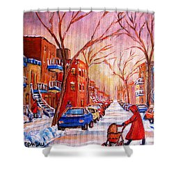 Shower Curtain featuring the painting Out For A Walk With Mom by Carole Spandau