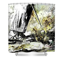 Out Of The Bunker Shower Curtain by Miki De Goodaboom