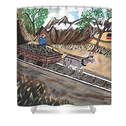Shower Curtain featuring the painting Out Of The Dark And Into The Blue Coal Mine by Jeffrey Koss