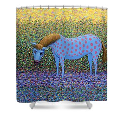 Shower Curtain featuring the painting Out Of The Pasture by James W Johnson