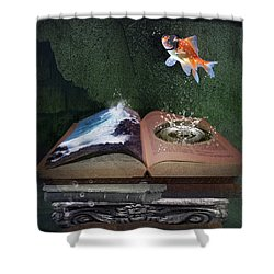 Out Of The Pond Shower Curtain by Mary Hood