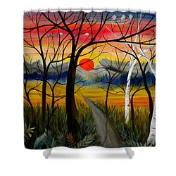 Shower Curtain featuring the painting Out Of The Woods by Renate Nadi Wesley