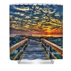 Shower Curtain featuring the photograph Out To Sea Tybee Island Georgia Art by Reid Callaway