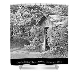 Shower Curtain featuring the photograph Outbuilding, Shed Arden Delaware 1919 by A Gurmankin