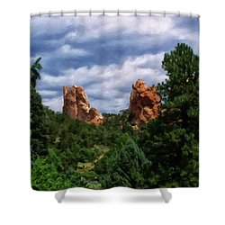 Shower Curtain featuring the digital art outcroppings in Colorado Springs by Chris Flees