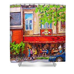 Shower Curtain featuring the painting Outdoor Cafe by Carole Spandau