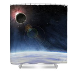 Shower Curtain featuring the digital art Outer Atmosphere Of Planet Earth by Phil Perkins