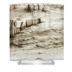 Outer Banks Beach Sand Fence  Shower Curtain by Randy Steele