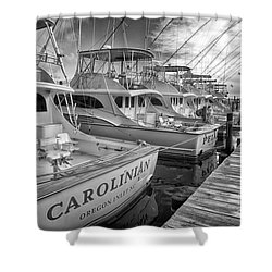 Outer Banks Fishing Boats Waiting Bw Shower Curtain