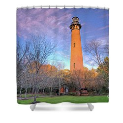 Outer Banks Winter At The Currituck Lighthouse Ap Shower Curtain