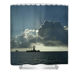 Outer Continental Shelf Oilfield  Shower Curtain by Bradford Martin