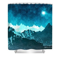 Shower Curtain featuring the digital art Outer Space Mountains by Phil Perkins