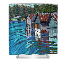 Outlet Row Of Boat Houses Shower Curtain