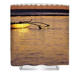 Outrigger And Sunset Shower Curtain by Joss - Printscapes