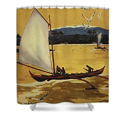 Outrigger Off Shore Shower Curtain by Hawaiian Legacy Archive - Printscapes
