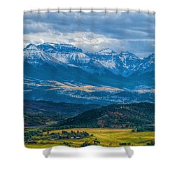 Outside Of Ridgway Shower Curtain by Alana Thrower