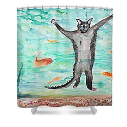 Outside The Fish Tank Shower Curtain