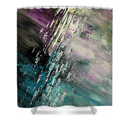 Shower Curtain featuring the painting Over Cosmic Clouds by Tatiana Iliina