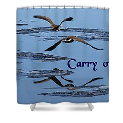 Shower Curtain featuring the photograph Over Icy Waters Carry On by DeeLon Merritt