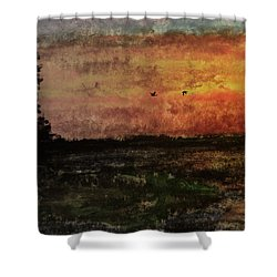 Over Nowhere North Shower Curtain by R Kyllo