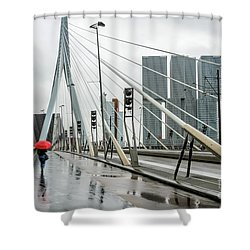 Shower Curtain featuring the photograph Over The Erasmus Bridge In Rotterdam With Red Umbrella by RicardMN Photography