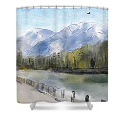 Shower Curtain featuring the painting Over The Mountains by Wayne Pascall