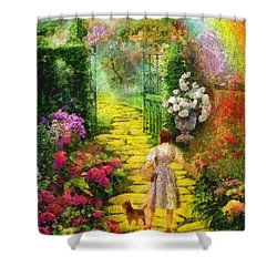 Over The Rainbow Shower Curtain by Mo T