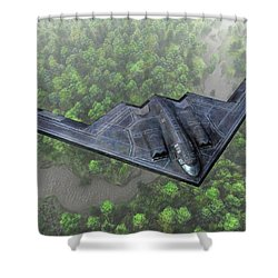 Over The River And Through The Woods In A Stealth Bomber Shower Curtain