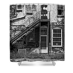 Shower Curtain featuring the photograph Over Under The Stairs - Bw by Christopher Holmes