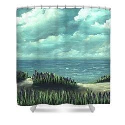 Shower Curtain featuring the painting Overcast by Anastasiya Malakhova