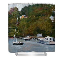 Overcast Day At Rockport Harbor Shower Curtain by Peter Salwen
