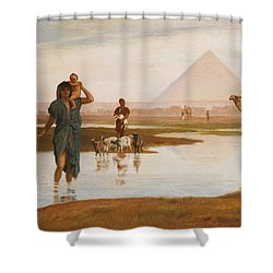Overflow Of The Nile Shower Curtain by Frederick Goodall
