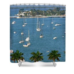 Overlooking A Miami Marina Shower Curtain by Margaret Bobb