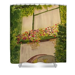 Shower Curtain featuring the painting Overlooking Butchard Gardens  by Vicki  Housel
