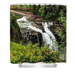 Overlooking Snoqualmie Falls Shower Curtain by Chris Anderson