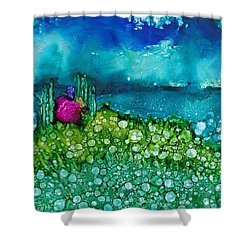 Shower Curtain featuring the painting Overlooking The Lake by Angela Treat Lyon