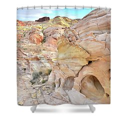 Overlooking Wash 5 In Valley Of Fire Shower Curtain