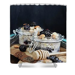 Overnight Oatmeal With Blackberries And Honey Shower Curtain