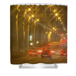 Shower Curtain featuring the photograph Overpass Traffic by Linda Phelps