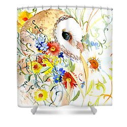 Owl And Flowers Shower Curtain