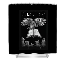 Shower Curtain featuring the digital art Owl And Friends Blackwhite by Retta Stephenson