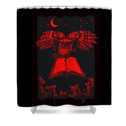 Shower Curtain featuring the digital art Owl And Friends Redblack by Retta Stephenson