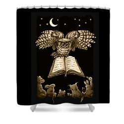 Owl And Friends Sepia Shower Curtain by Retta Stephenson