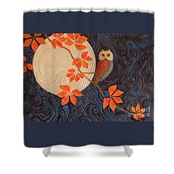 Shower Curtain featuring the painting Owl And Moon On A Quilt by Nancy Lee Moran