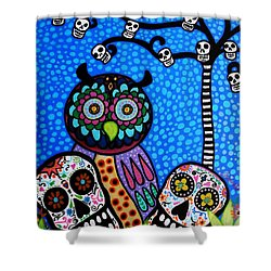 Owl And Sugar Day Of The Dead Shower Curtain by Pristine Cartera Turkus